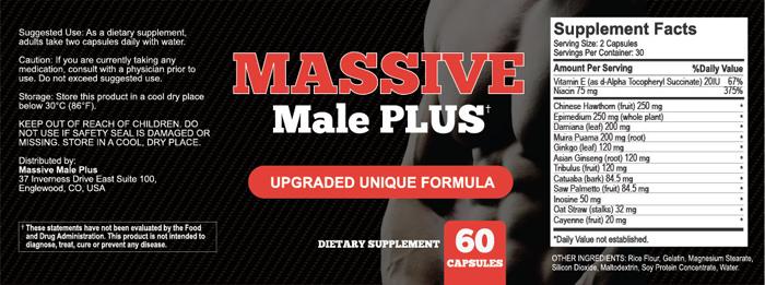 Massive Male Plus Supplement ingredients