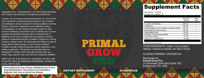 primal grow pro ingredients-
